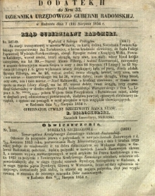Dziennik Urzędowy Gubernii Radomskiej, 1854, nr 33, dod. II