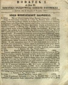 Dziennik Urzędowy Gubernii Radomskiej, 1854, nr 35, dod. I