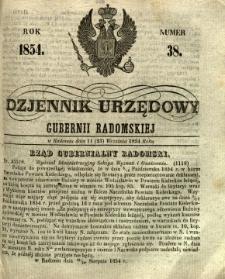 Dziennik Urzędowy Gubernii Radomskiej, 1854, nr 38
