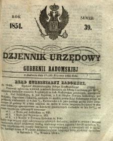 Dziennik Urzędowy Gubernii Radomskiej, 1854, nr 39