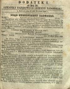 Dziennik Urzędowy Gubernii Radomskiej, 1854, nr 39, dod. I