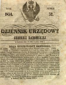 Dziennik Urzędowy Gubernii Radomskiej, 1854, nr 52