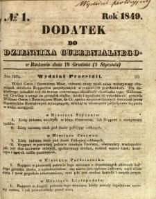 Dodatek do Dziennika Gubernialnego, 1849, nr 1