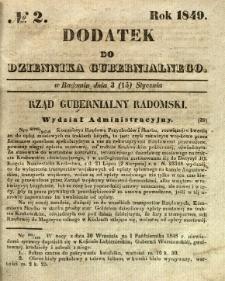 Dodatek do Dziennika Gubernialnego, 1849, nr 2