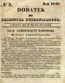 Dodatek do Dziennika Gubernialnego, 1849, nr 5