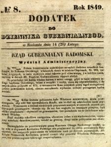 Dodatek do Dziennika Gubernialnego, 1849, nr 8
