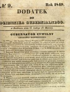 Dodatek do Dziennika Gubernialnego, 1849, nr 9