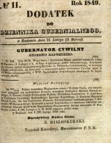 Dodatek do Dziennika Gubernialnego, 1849, nr 11