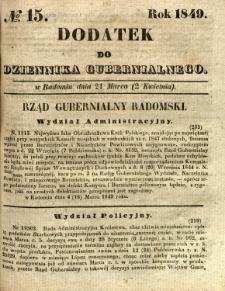Dodatek do Dziennika Gubernialnego, 1849, nr 15
