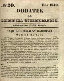 Dodatek do Dziennika Gubernialnego, 1849, nr 20