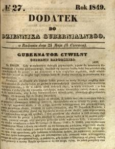 Dodatek do Dziennika Gubernialnego, 1849, nr 27