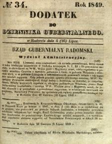Dodatek do Dziennika Gubernialnego, 1849, nr 34