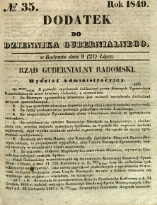 Dodatek do Dziennika Gubernialnego, 1849, nr 35
