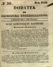 Dodatek do Dziennika Gubernialnego, 1849, nr 39
