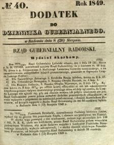 Dodatek do Dziennika Gubernialnego, 1849, nr 40