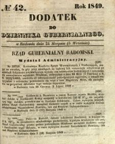 Dodatek do Dziennika Gubernialnego, 1849, nr 42
