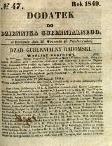 Dodatek do Dziennika Gubernialnego, 1849, nr 47