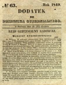 Dodatek do Dziennika Gubernialnego, 1849, nr 63
