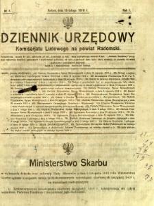 Dziennik Urzędowy Komisarjatu Ludowego na powiat Radomski, 1919, R. 1, nr 4