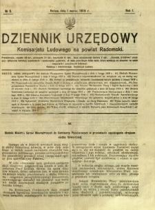 Dziennik Urzędowy Komisarjatu Ludowego na powiat Radomski, 1919, R. 1, nr 5