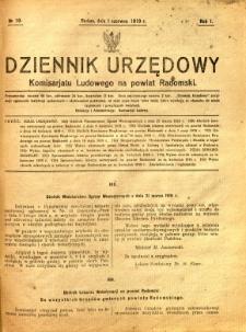Dziennik Urzędowy Komisarjatu Ludowego na powiat Radomski, 1919, R. 1, nr 10
