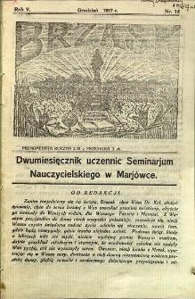 Brzask: Dwumiesięcznik uczennic Seminarium Nauczycielskiego w Mariówce, 1927, R. 5, nr 15