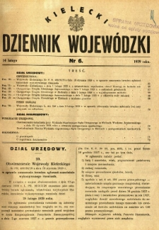 Kielecki Dziennik Wojewódzki, 1929, nr 6