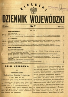 Kielecki Dziennik Wojewódzki, 1929, nr 7