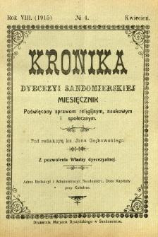 Kronika Diecezji Sandomierskiej, 1915, R. 8, nr 4