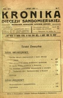 Kronika Diecezji Sandomierskiej, 1921, R. 14, nr 7