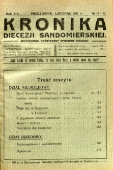 Kronika Diecezji Sandomierskiej, 1921, R. 14, nr 10/11