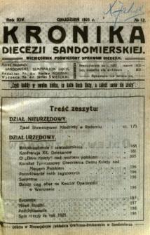 Kronika Diecezji Sandomierskiej, 1921, R. 14, nr 12