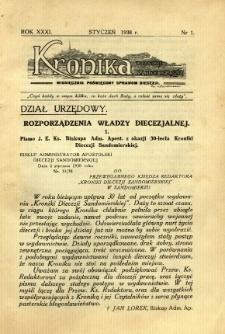 Kronika Diecezji Sandomierskiej, 1938, R. 31, nr 1