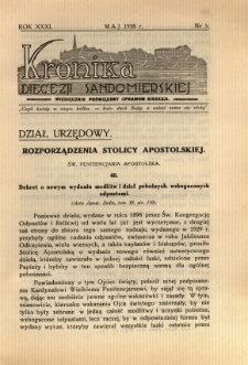 Kronika Diecezji Sandomierskiej, 1938, R. 31, nr 5