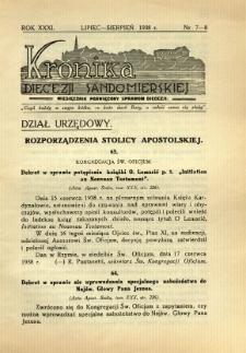 Kronika Diecezji Sandomierskiej, 1938, R. 31, nr 7/8