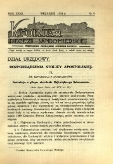 Kronika Diecezji Sandomierskiej, 1938, R. 31, nr 9