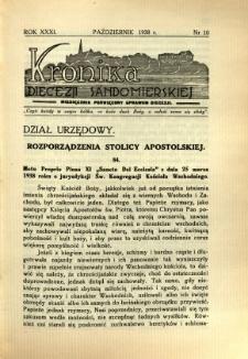 Kronika Diecezji Sandomierskiej, 1938, R. 31, nr 10