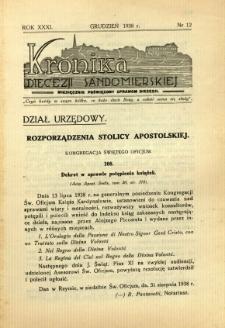 Kronika Diecezji Sandomierskiej, 1938, R. 31, nr 12