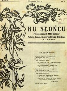 Ku Słońcu, 1927, R. 3, nr 1