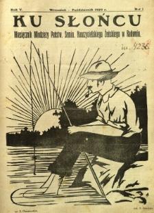 Ku Słońcu, 1929, R. 5, nr 1