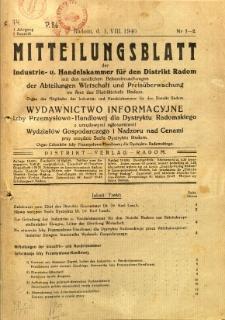 Mitteilungsblatt der Industrie-u. Handelskammer für den Distrikt Radom = Wydawnictwo Informacyjne Izby Przemysłowo-Handlowej dla Dystryktu Radomskiego, 1940, R. 1, nr 1/2
