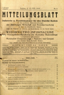 Mitteilungsblatt der Industrie-u. Handelskammer für den Distrikt Radom = Wydawnictwo Informacyjne Izby Przemysłowo-Handlowej dla Dystryktu Radomskiego, 1940, R. 1, nr 3