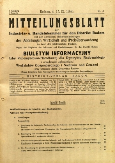 Mitteilungsblatt der Industrie-u. Handelskammer für den Distrikt Radom = Wydawnictwo Informacyjne Izby Przemysłowo-Handlowej dla Dystryktu Radomskiego, 1940, R. 1, nr 5
