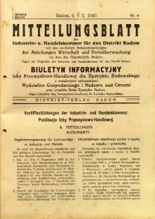 Mitteilungsblatt der Industrie-u. Handelskammer für den Distrikt Radom = Wydawnictwo Informacyjne Izby Przemysłowo-Handlowej dla Dystryktu Radomskiego, 1940, R. 1, nr 6