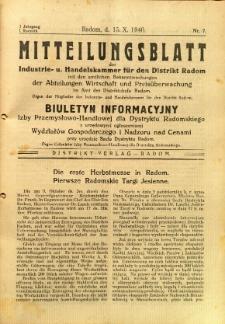 Mitteilungsblatt der Industrie-u. Handelskammer für den Distrikt Radom = Wydawnictwo Informacyjne Izby Przemysłowo-Handlowej dla Dystryktu Radomskiego, 1940, R. 1, nr 7