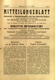 Mitteilungsblatt der Industrie-u. Handelskammer für den Distrikt Radom = Wydawnictwo Informacyjne Izby Przemysłowo-Handlowej dla Dystryktu Radomskiego, 1940, R. 1, nr 8