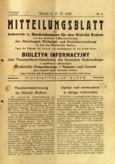 Mitteilungsblatt der Industrie-u. Handelskammer für den Distrikt Radom = Wydawnictwo Informacyjne Izby Przemysłowo-Handlowej dla Dystryktu Radomskiego, 1940, R. 1, nr 9
