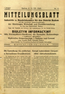 Mitteilungsblatt der Industrie-u. Handelskammer für den Distrikt Radom = Wydawnictwo Informacyjne Izby Przemysłowo-Handlowej dla Dystryktu Radomskiego, 1940, R. 1, nr 11