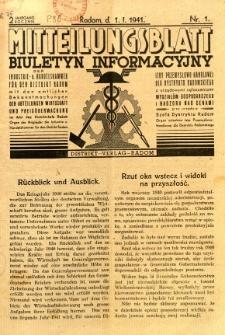 Mitteilungsblatt der Industrie-u. Handelskammer für den Distrikt Radom = Wydawnictwo Informacyjne Izby Przemysłowo-Handlowej dla Dystryktu Radomskiego, 1941, R. 2, nr 1