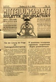Mitteilungsblatt der Industrie-u. Handelskammer für den Distrikt Radom = Wydawnictwo Informacyjne Izby Przemysłowo-Handlowej dla Dystryktu Radomskiego, 1941, R. 2, nr 2